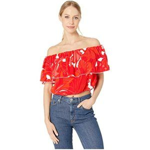 NWT Trina Turk Red Off Shoulder Terrace Top